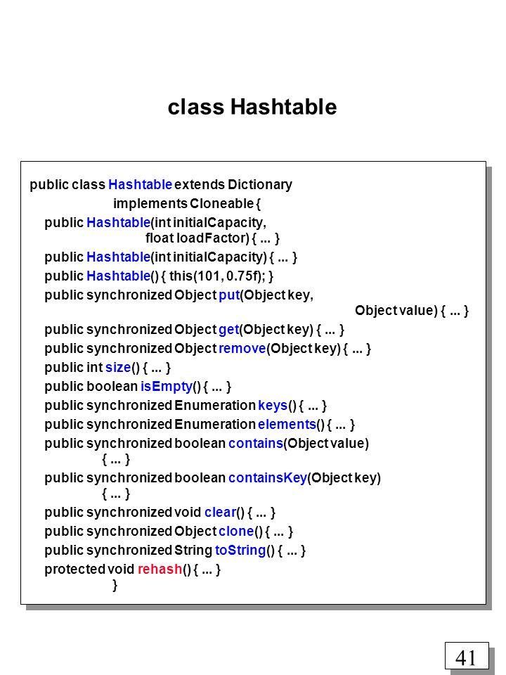 40 Hashing i Java class Dictionary public abstract class Dictionary { abstract public Object put(Object key, Object value); abstract public Object get(Object key); abstract public Object remove(Object key); abstract public int size(); abstract public boolean isEmpty(); abstract public Enumeration keys(); abstract public Enumeration elements(); }