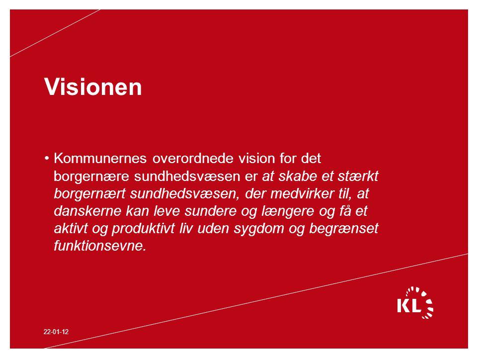 Visionen Kommunernes overordnede vision for det borgernære sundhedsvæsen er at skabe et stærkt borgernært sundhedsvæsen, der medvirker til, at danskerne kan leve sundere og længere og få et aktivt og produktivt liv uden sygdom og begrænset funktionsevne.