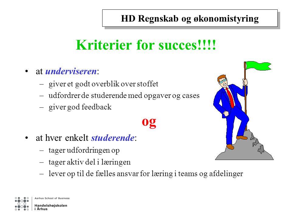 HD Regnskab og økonomistyring Kriterier for succes!!!.