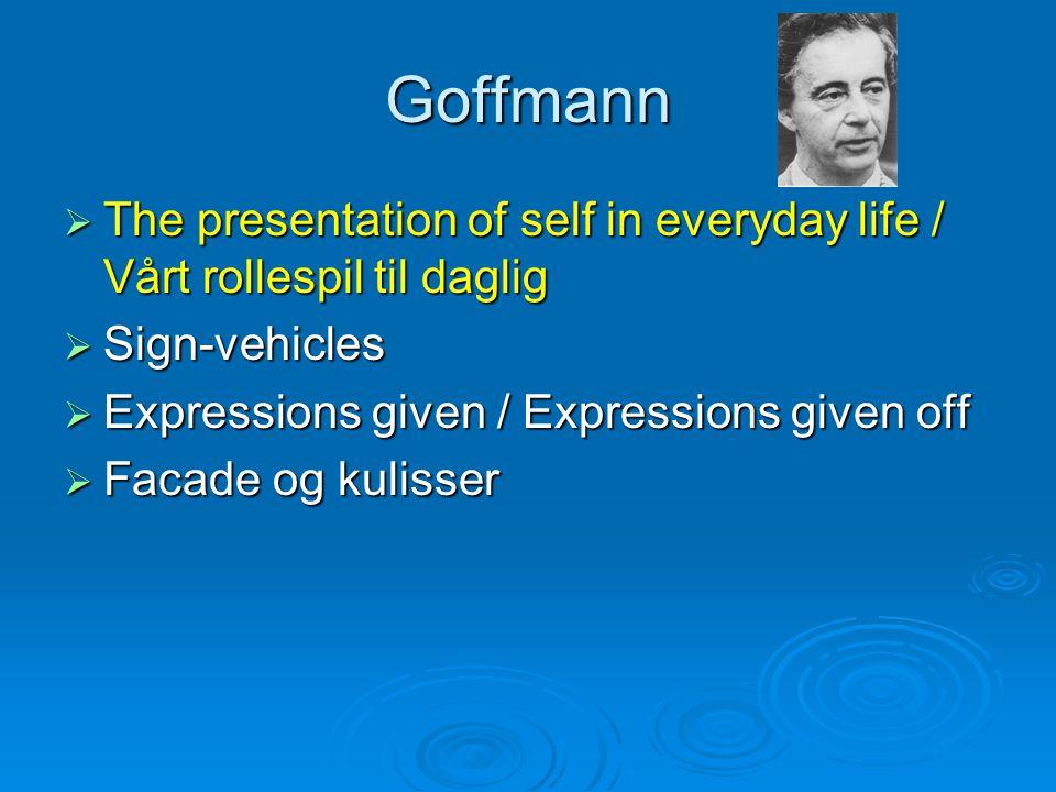 Goffmann  The presentation of self in everyday life / Vårt rollespil til daglig  Sign-vehicles  Expressions given / Expressions given off  Facade og kulisser