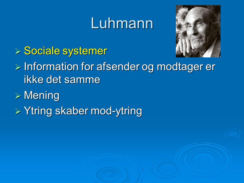 Luhmann  Sociale systemer  Information for afsender og modtager er ikke det samme  Mening  Ytring skaber mod-ytring