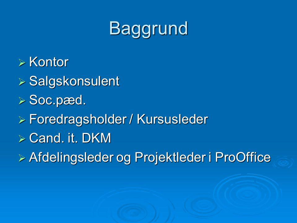 Baggrund  Kontor  Salgskonsulent  Soc.pæd.  Foredragsholder / Kursusleder  Cand.