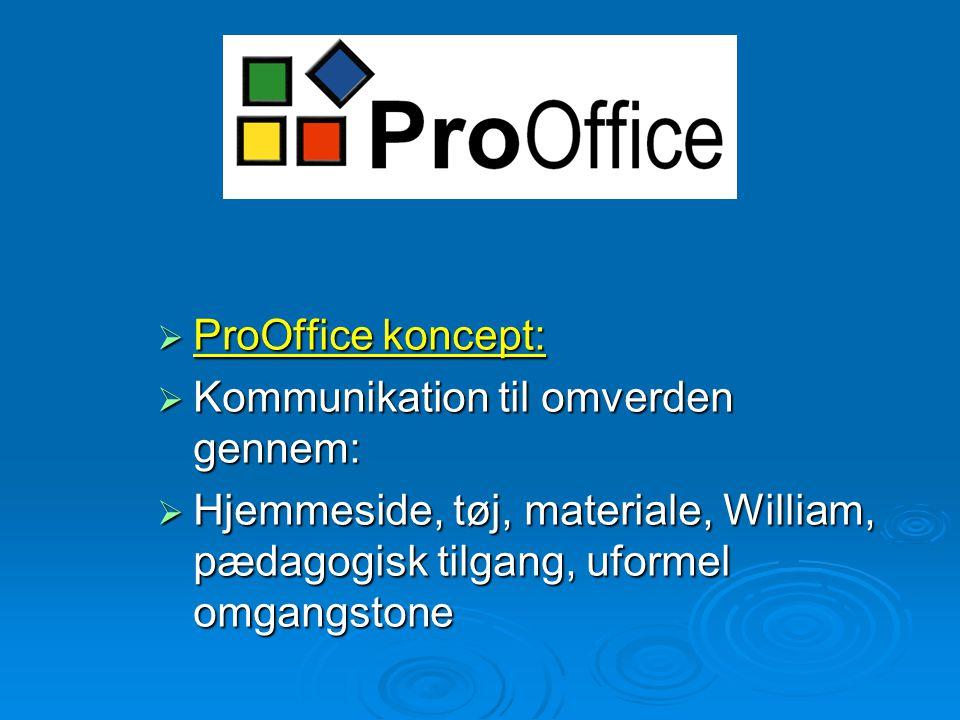 ProOffice  ProOffice koncept:  Kommunikation til omverden gennem:  Hjemmeside, tøj, materiale, William, pædagogisk tilgang, uformel omgangstone