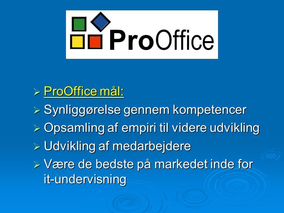 ProOffice  ProOffice mål:  Synliggørelse gennem kompetencer  Opsamling af empiri til videre udvikling  Udvikling af medarbejdere  Være de bedste på markedet inde for it-undervisning