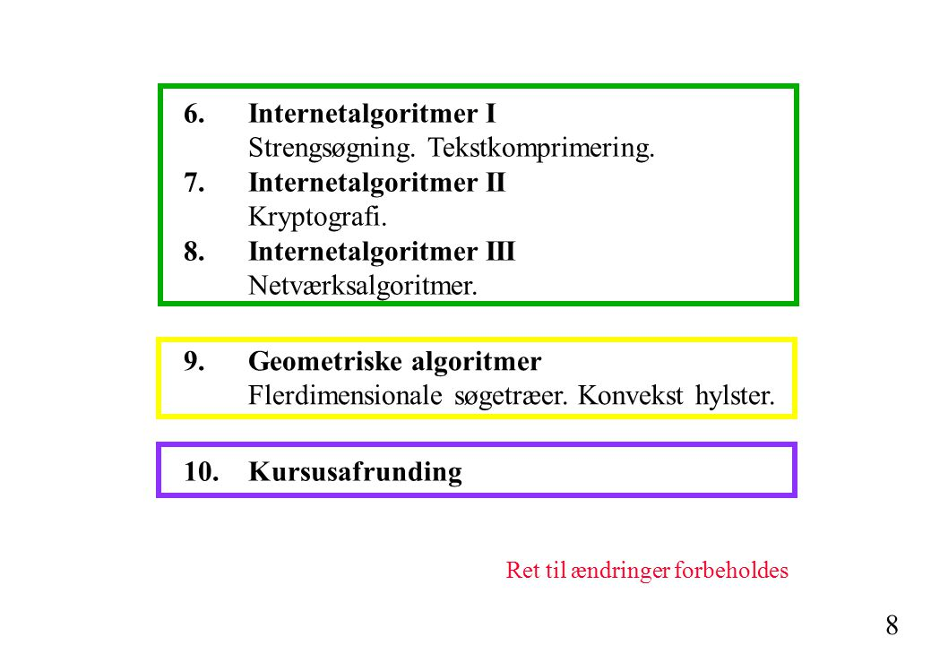 7 Kursets indhold 1.Fundamentale værktøjer I Algoritmeanalyse.