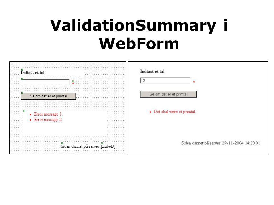 ValidationSummary i WebForm