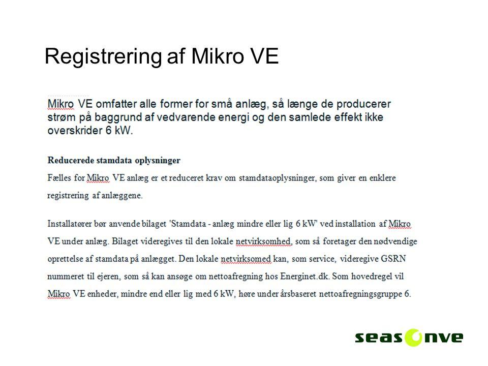 Registrering af Mikro VE