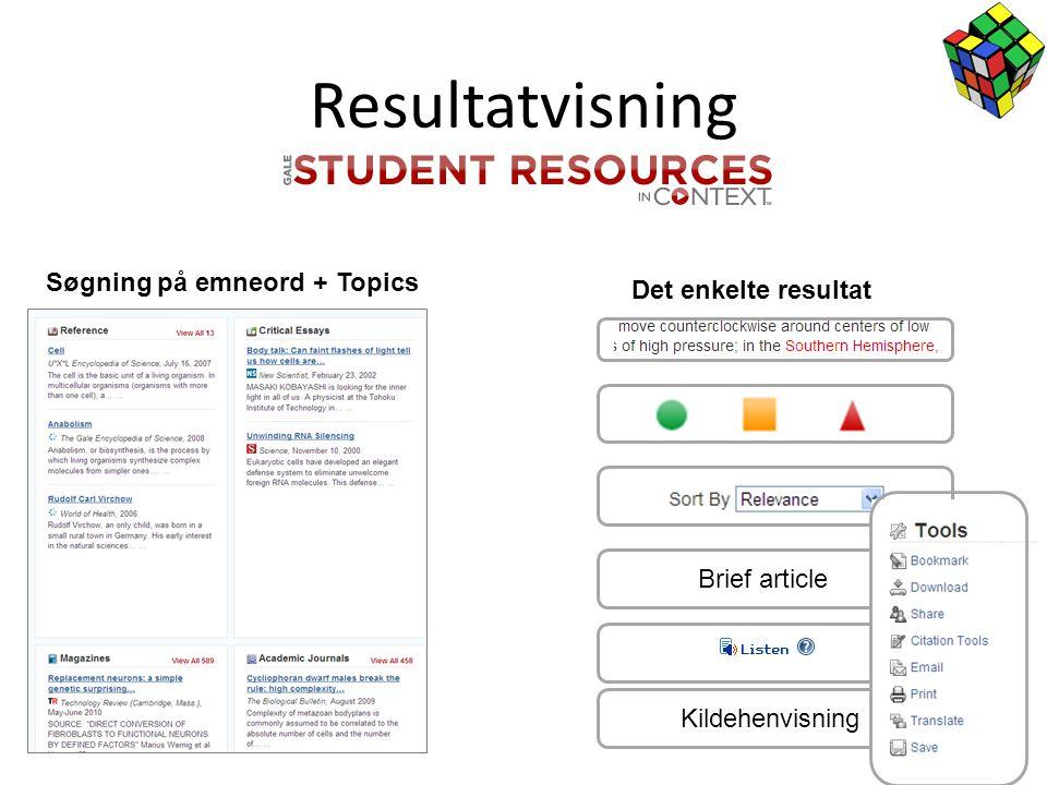 Resultatvisning Søgning på emneord + Topics Det enkelte resultat Brief article Kildehenvisning