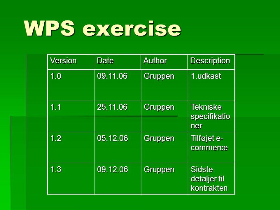 WPS exercise 1.009.11.06Gruppen1.udkast 1.125.11.06Gruppen Tekniske specifikatio ner 1.205.12.06Gruppen Tilføjet e- commerce 1.309.12.06Gruppen Sidste detaljer til kontrakten VersionDateAuthorDescription