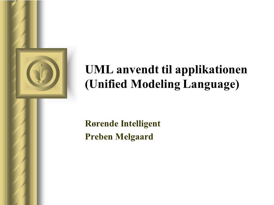 UML anvendt til applikationen (Unified Modeling Language) Rørende Intelligent Preben Melgaard Denne præsentation vil sandsynligvis medføre diskussion blandt tilhørerne, hvilket vil resultere i handlingspunkter.