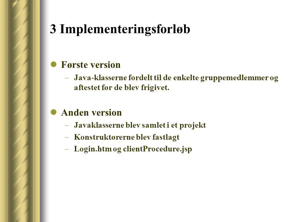 3 Implementeringsforløb Første version –Java-klasserne fordelt til de enkelte gruppemedlemmer og aftestet før de blev frigivet.