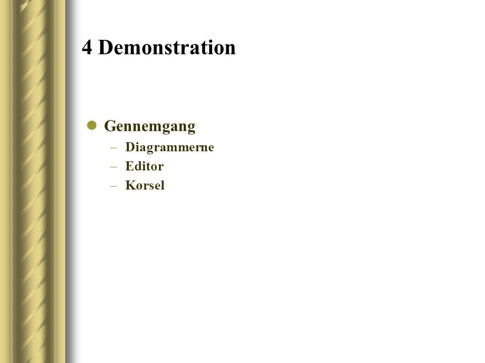 4 Demonstration Gennemgang –Diagrammerne –Editor –Kørsel