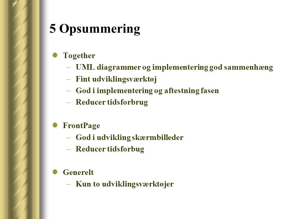5 Opsummering Together –UML diagrammer og implementering god sammenhæng –Fint udviklingsværktøj –God i implementering og aftestning fasen –Reducer tidsforbrug FrontPage –God i udvikling skærmbilleder –Reducer tidsforbug Generelt –Kun to udviklingsværktøjer