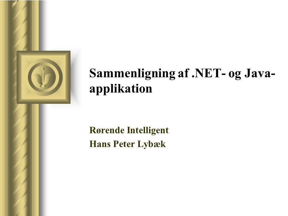 Sammenligning af.NET- og Java- applikation Rørende Intelligent Hans Peter Lybæk
