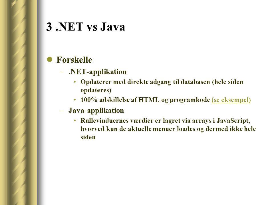 3.NET vs Java Forskelle –.NET-applikation Opdaterer med direkte adgang til databasen (hele siden opdateres) 100% adskillelse af HTML og programkode (se eksempel)(se eksempel) –Java-applikation Rullevinduernes værdier er lagret via arrays i JavaScript, hvorved kun de aktuelle menuer loades og dermed ikke hele siden