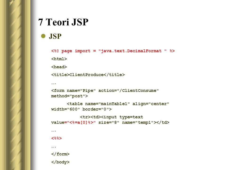 7 Teori JSP JSP ClientProduce …. size= 8 name= temp1 > …. ….