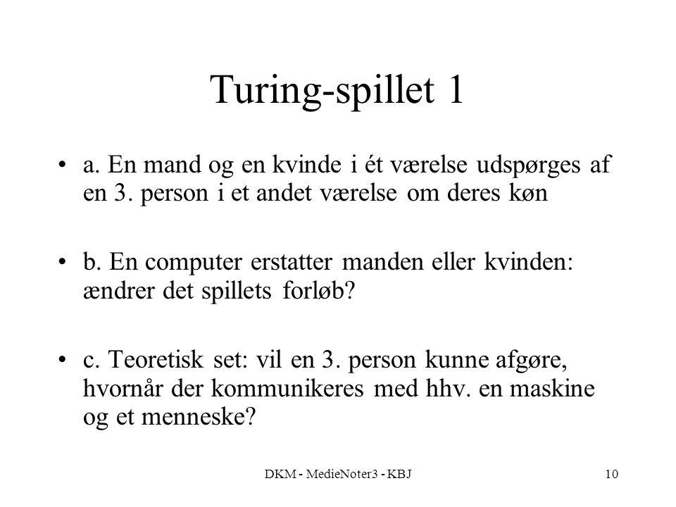 DKM - MedieNoter3 - KBJ10 Turing-spillet 1 a. En mand og en kvinde i ét værelse udspørges af en 3.