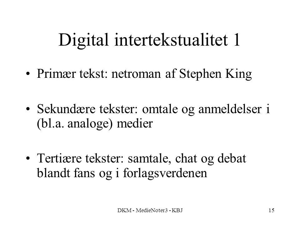DKM - MedieNoter3 - KBJ15 Digital intertekstualitet 1 Primær tekst: netroman af Stephen King Sekundære tekster: omtale og anmeldelser i (bl.a.