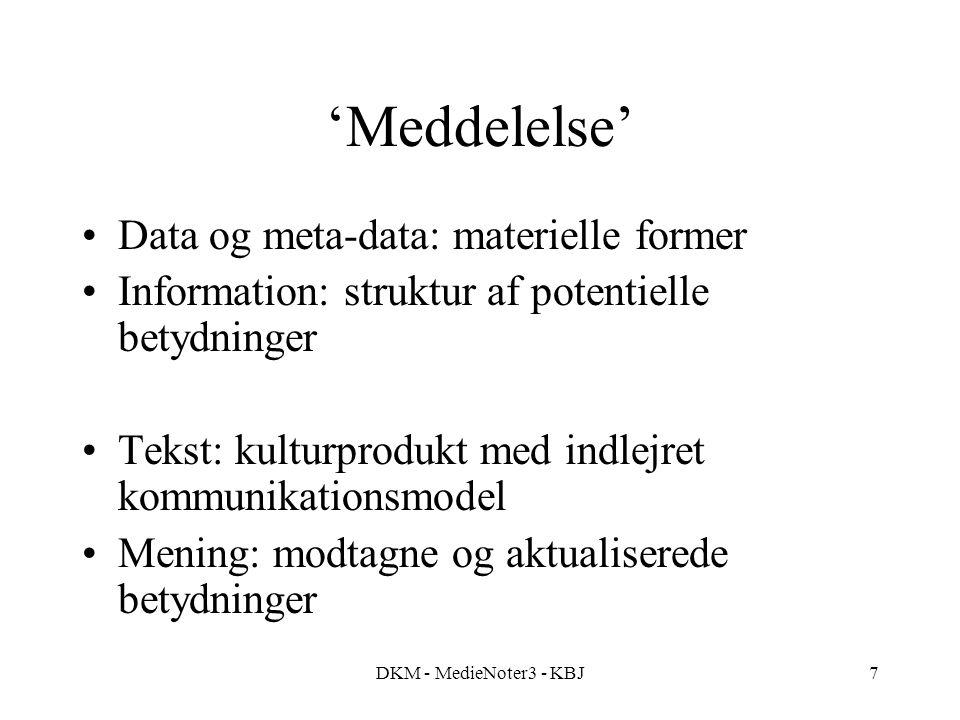 DKM - MedieNoter3 - KBJ7 'Meddelelse' Data og meta-data: materielle former Information: struktur af potentielle betydninger Tekst: kulturprodukt med indlejret kommunikationsmodel Mening: modtagne og aktualiserede betydninger