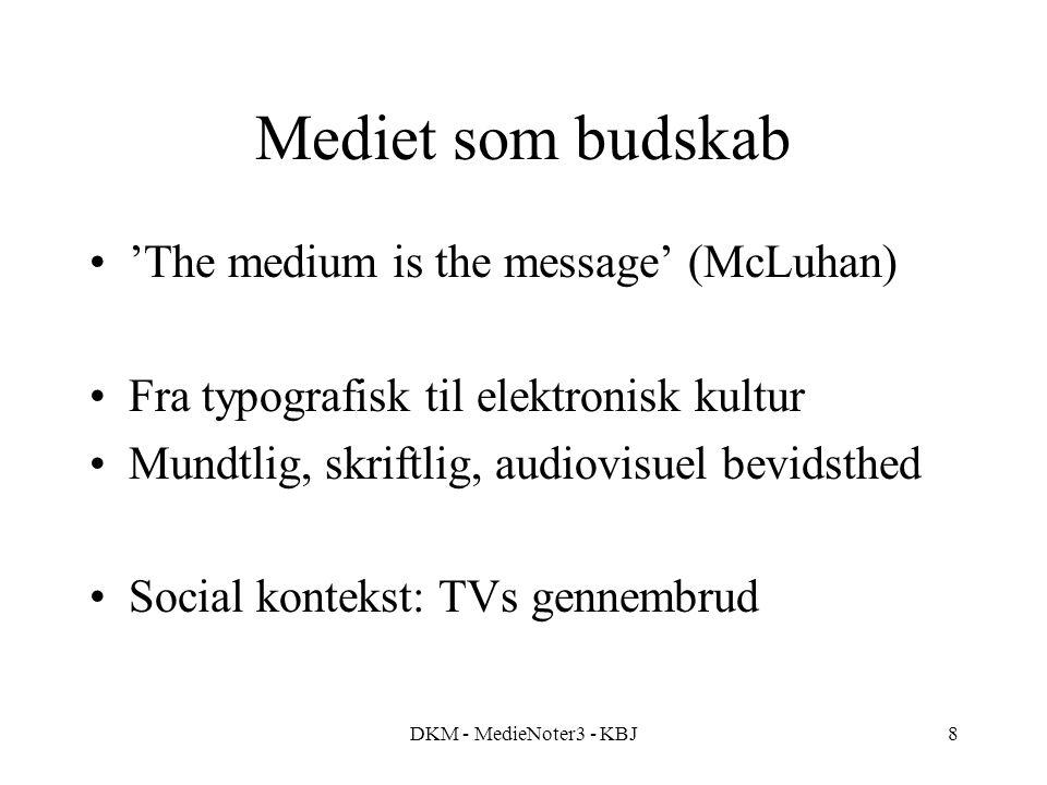 DKM - MedieNoter3 - KBJ8 Mediet som budskab 'The medium is the message' (McLuhan) Fra typografisk til elektronisk kultur Mundtlig, skriftlig, audiovisuel bevidsthed Social kontekst: TVs gennembrud