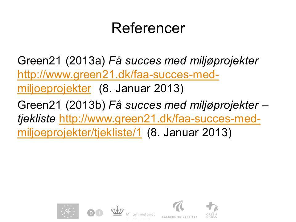 Referencer Green21 (2013a) Få succes med miljøprojekter http://www.green21.dk/faa-succes-med- miljoeprojekter (8.