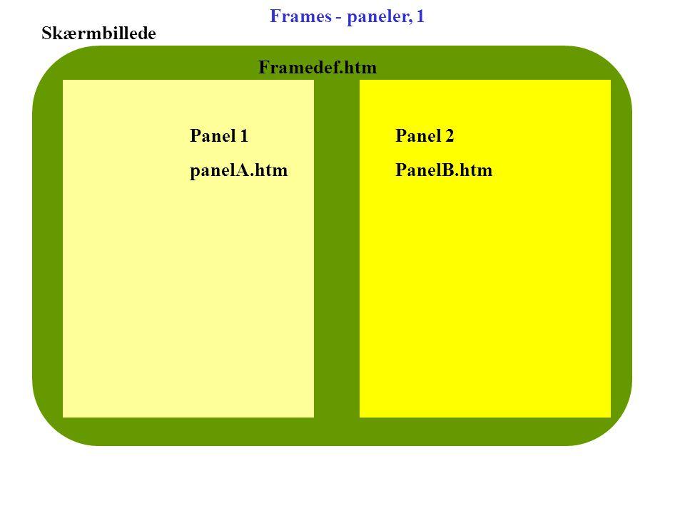 Frames - paneler, 1 Skærmbillede Framedef.htm Panel 1Panel 2 panelA.htmPanelB.htm