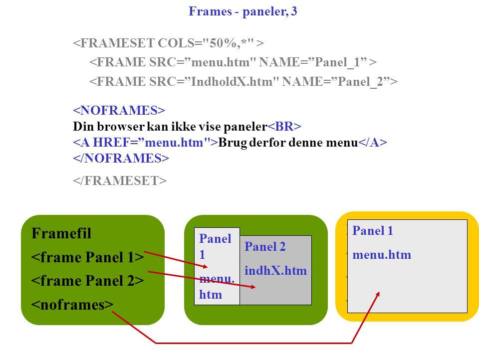 Framefil Framefil Frames - paneler, 3 Din browser kan ikke vise paneler Brug derfor denne menu Framefil Panel 1 menu.
