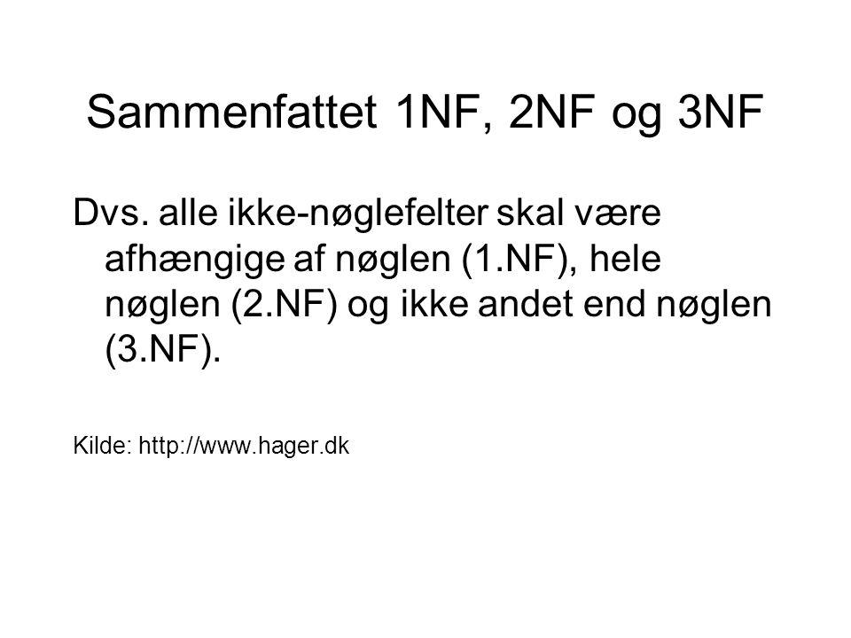 Sammenfattet 1NF, 2NF og 3NF Dvs.