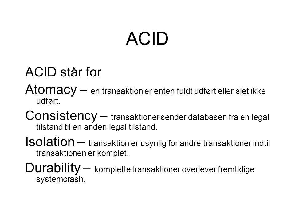 ACID ACID står for Atomacy – en transaktion er enten fuldt udført eller slet ikke udført.