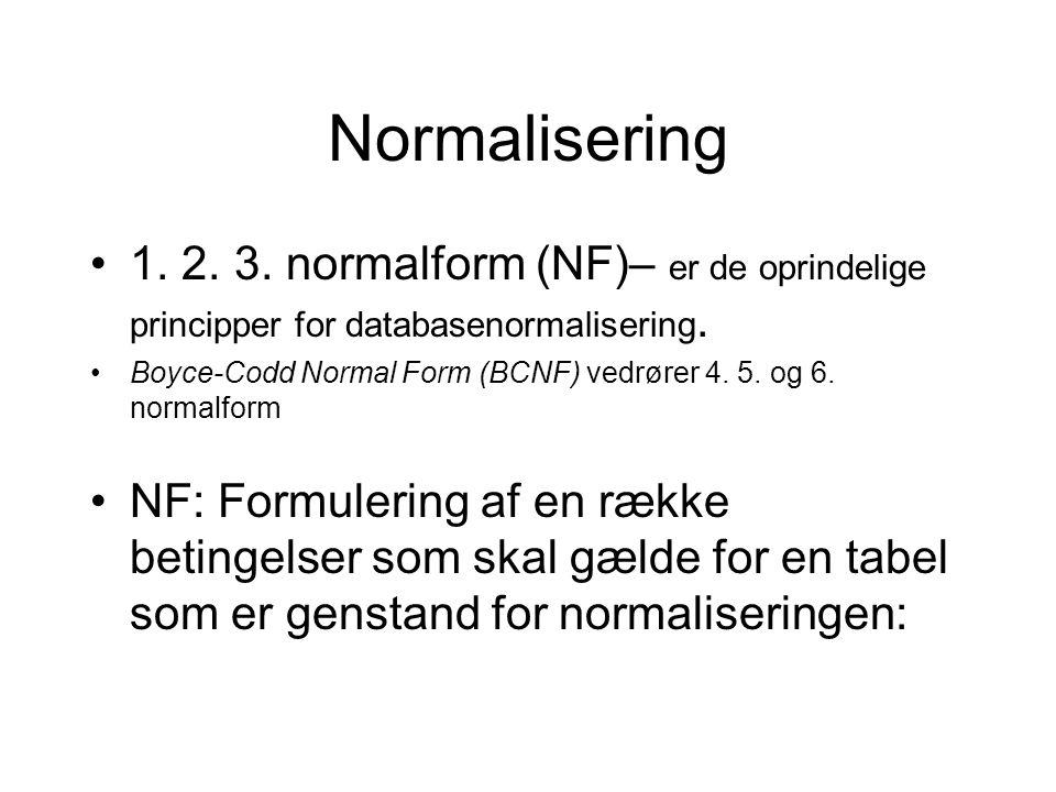 Normalisering 1. 2. 3. normalform (NF)– er de oprindelige principper for databasenormalisering.