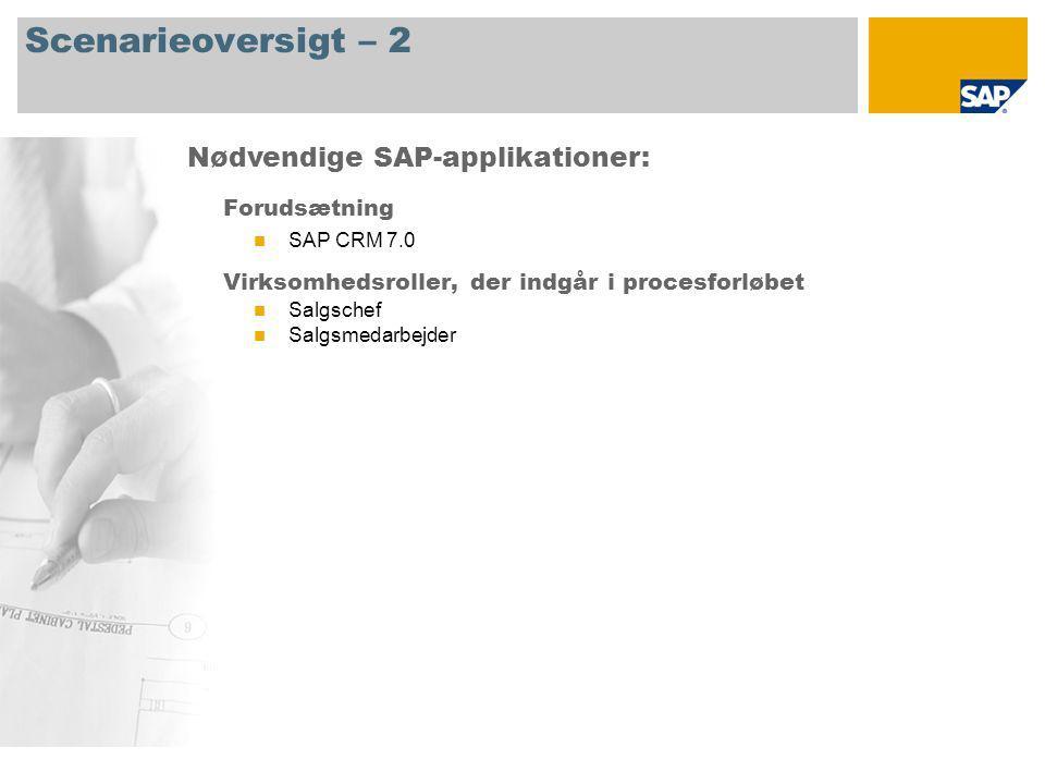 Scenarieoversigt – 2 Forudsætning SAP CRM 7.0 Virksomhedsroller, der indgår i procesforløbet Salgschef Salgsmedarbejder Nødvendige SAP-applikationer: