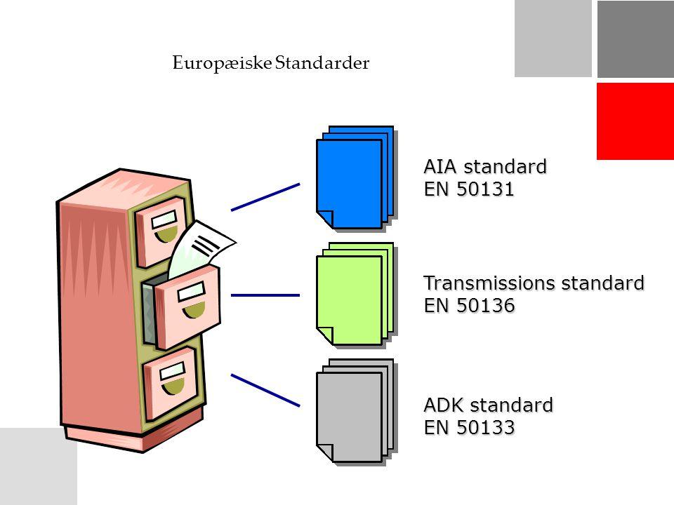 Europæiske Standarder AIA standard EN 50131 Transmissions standard EN 50136 ADK standard EN 50133