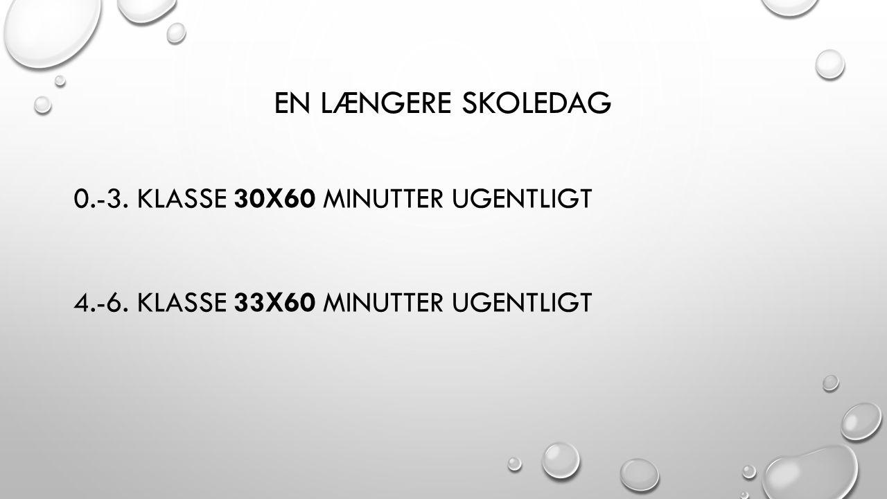 EN LÆNGERE SKOLEDAG 0.-3. KLASSE 30X60 MINUTTER UGENTLIGT 4.-6. KLASSE 33X60 MINUTTER UGENTLIGT