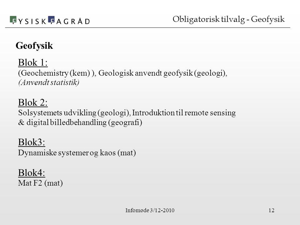 Infomøde 3/12-201012 Obligatorisk tilvalg - Geofysik Blok 1: (Geochemistry (kem) ), Geologisk anvendt geofysik (geologi), (Anvendt statistik) Blok 2: Solsystemets udvikling (geologi), Introduktion til remote sensing & digital billedbehandling (geografi) Blok3: Dynamiske systemer og kaos (mat) Blok4: Mat F2 (mat) Geofysik