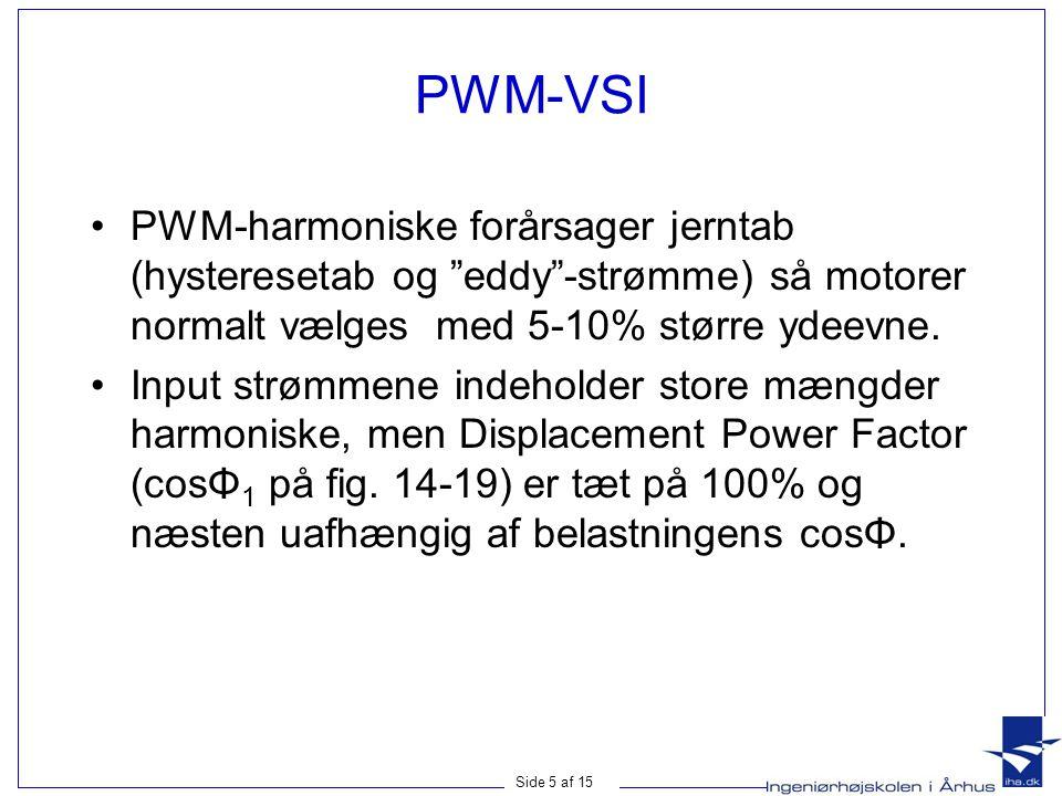 Side 5 af 15 PWM-VSI PWM-harmoniske forårsager jerntab (hysteresetab og eddy -strømme) så motorer normalt vælges med 5-10% større ydeevne.