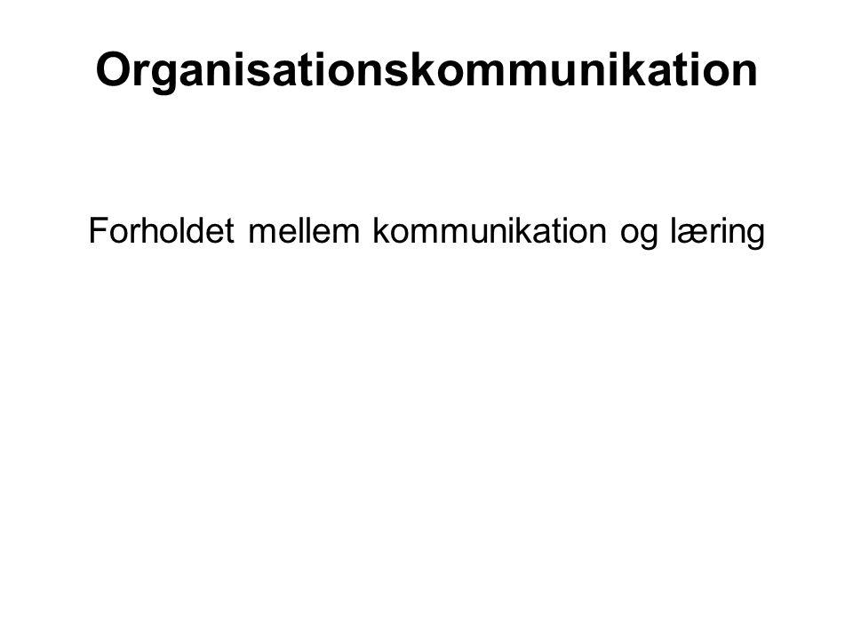 Organisationskommunikation Forholdet mellem kommunikation og læring