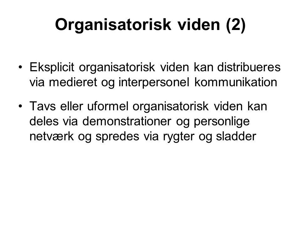 Organisatorisk viden (2) Eksplicit organisatorisk viden kan distribueres via medieret og interpersonel kommunikation Tavs eller uformel organisatorisk viden kan deles via demonstrationer og personlige netværk og spredes via rygter og sladder