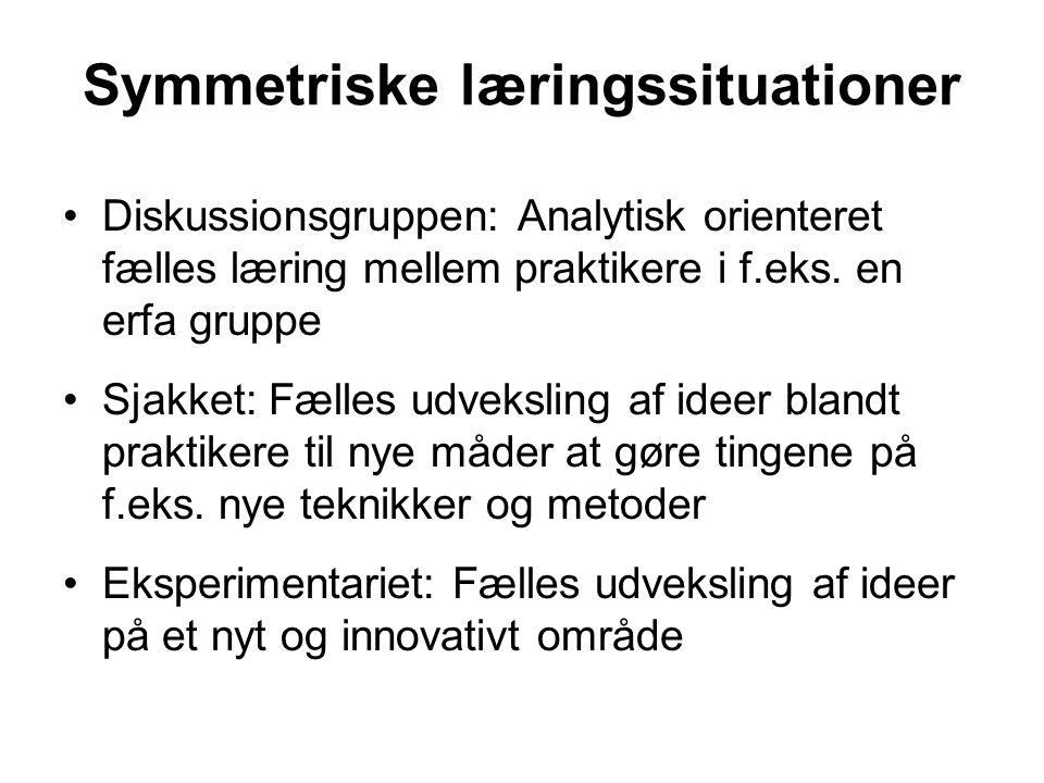 Symmetriske læringssituationer Diskussionsgruppen: Analytisk orienteret fælles læring mellem praktikere i f.eks.