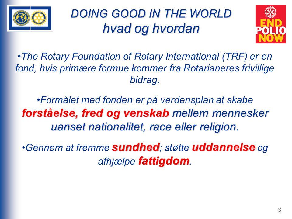 3 DOING GOOD IN THE WORLD hvad og hvordan The Rotary Foundation of Rotary International (TRF) er en fond, hvis primære formue kommer fra Rotarianeres frivillige bidrag.