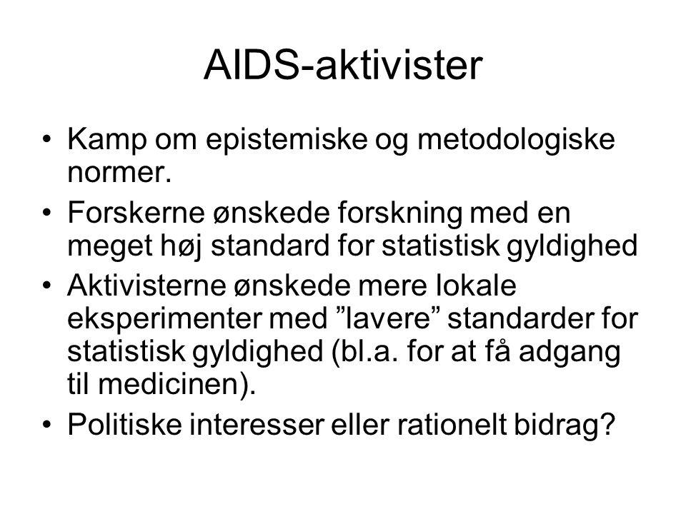 AIDS-aktivister Kamp om epistemiske og metodologiske normer.
