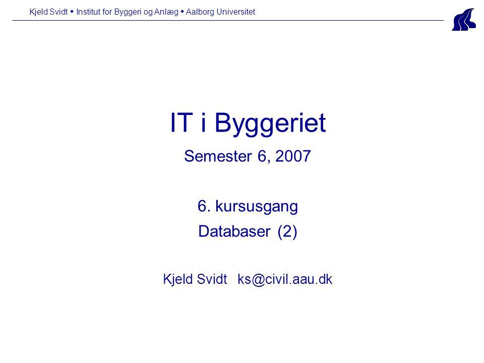 Kjeld Svidt  Institut for Byggeri og Anlæg  Aalborg Universitet IT i Byggeriet Semester 6, 2007 6.