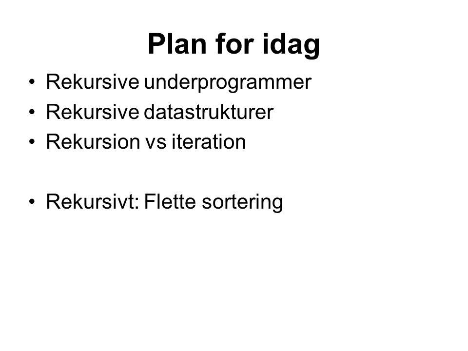 Plan for idag Rekursive underprogrammer Rekursive datastrukturer Rekursion vs iteration Rekursivt: Flette sortering