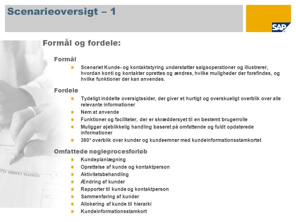 Scenarieoversigt – 1 Formål Scenariet Kunde- og kontaktstyring understøtter salgsoperationer og illustrerer, hvordan konti og kontakter oprettes og ændres, hvilke muligheder der forefindes, og hvilke funktioner der kan anvendes.