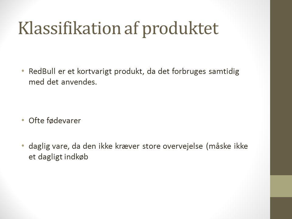 Klassifikation af produktet RedBull er et kortvarigt produkt, da det forbruges samtidig med det anvendes.
