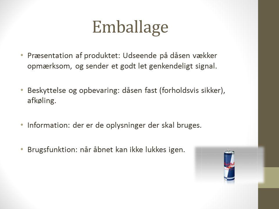 Emballage Præsentation af produktet: Udseende på dåsen vækker opmærksom, og sender et godt let genkendeligt signal.