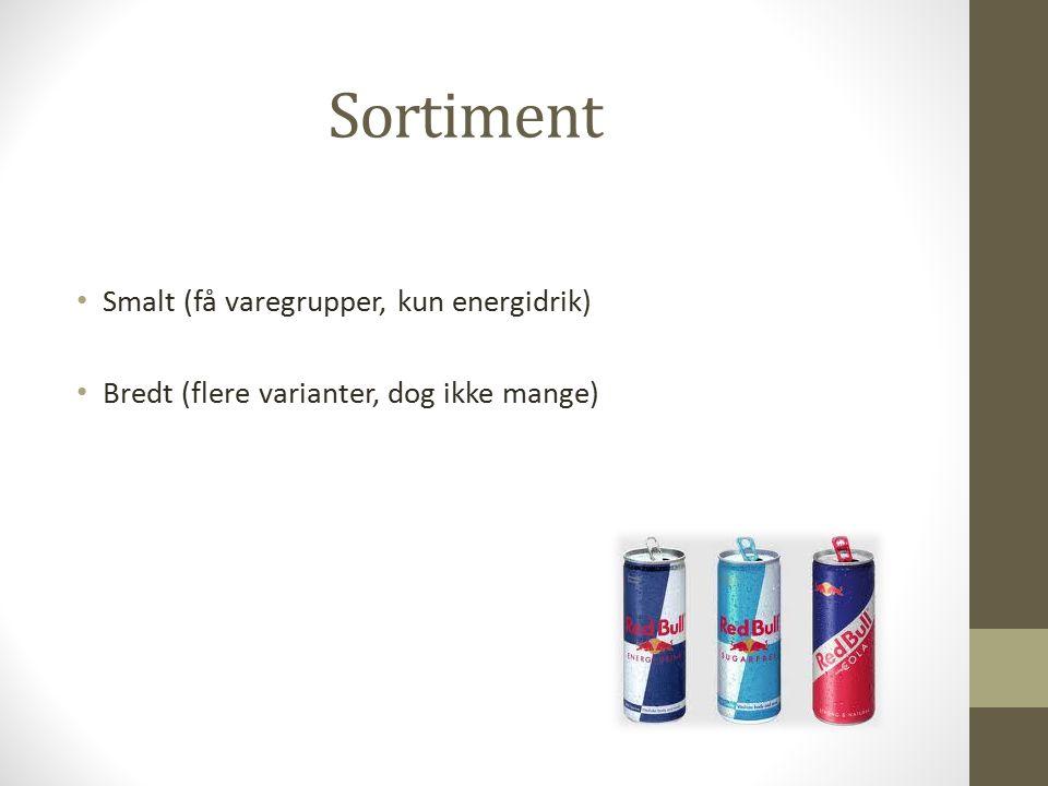Sortiment Smalt (få varegrupper, kun energidrik) Bredt (flere varianter, dog ikke mange)