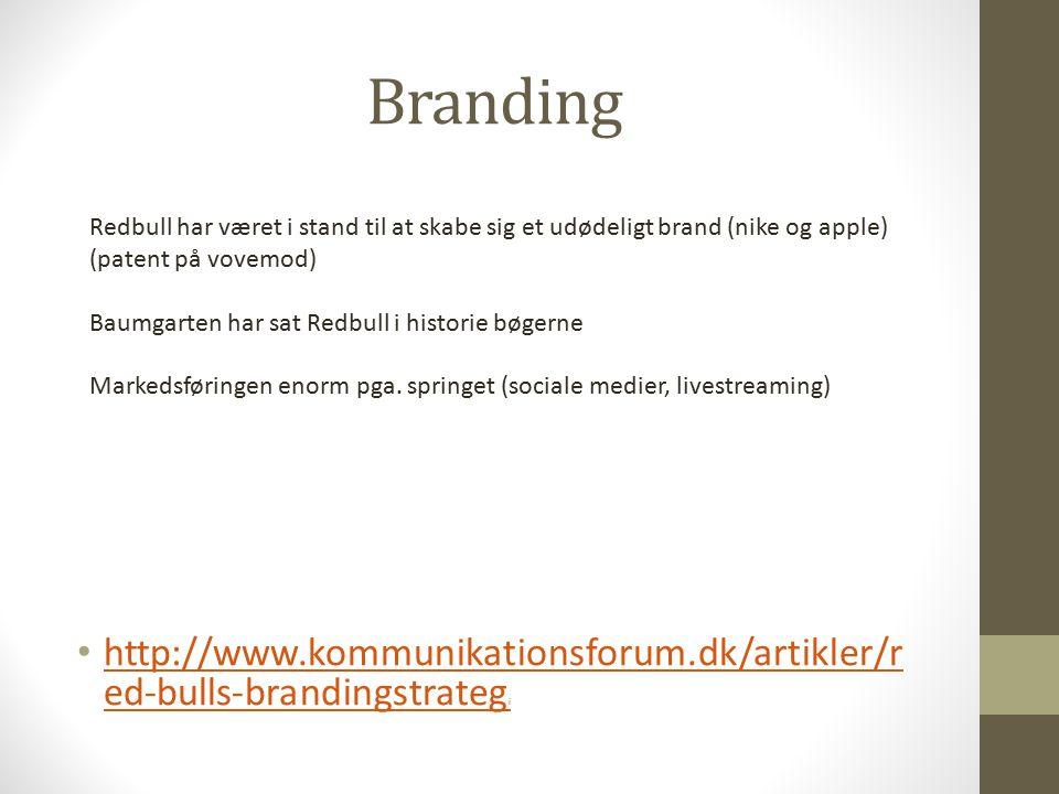 Branding http://www.kommunikationsforum.dk/artikler/r ed-bulls-brandingstrateg i http://www.kommunikationsforum.dk/artikler/r ed-bulls-brandingstrateg i Redbull har været i stand til at skabe sig et udødeligt brand (nike og apple) (patent på vovemod) Baumgarten har sat Redbull i historie bøgerne Markedsføringen enorm pga.