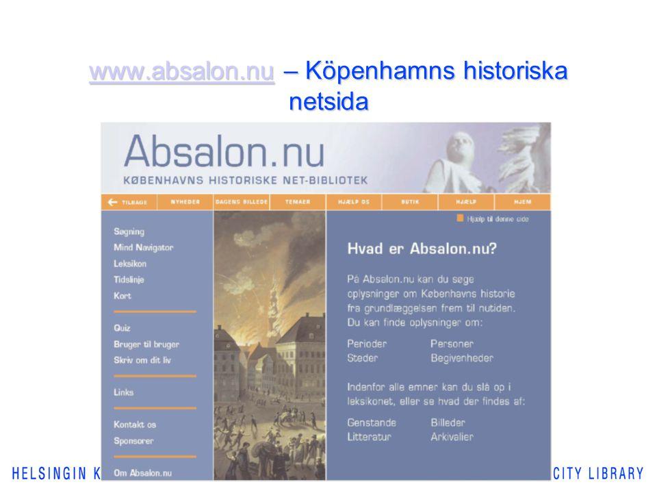 www.absalon.nuwww.absalon.nu – Köpenhamns historiska netsida www.absalon.nu