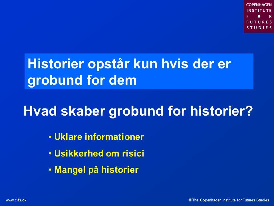 © The Copenhagen Institute for Futures Studieswww.cifs.dk Historier opstår kun hvis der er grobund for dem Hvad skaber grobund for historier.
