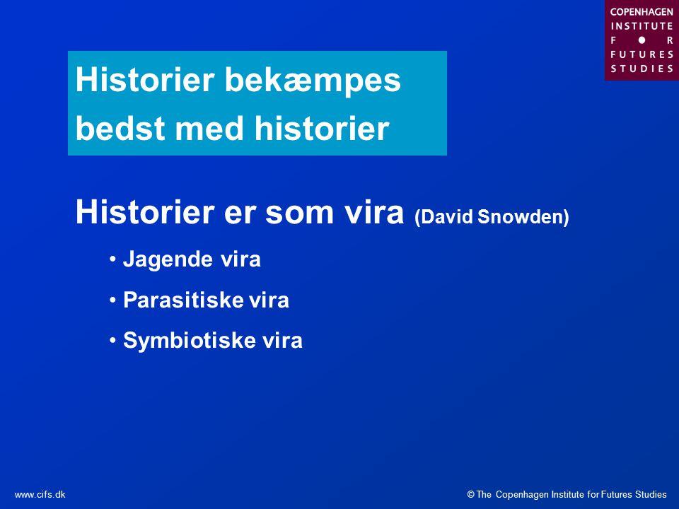 © The Copenhagen Institute for Futures Studieswww.cifs.dk Historier bekæmpes bedst med historier Historier er som vira (David Snowden) Jagende vira Parasitiske vira Symbiotiske vira